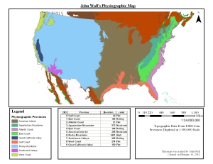 Physiographic Map created from elevation data of North America